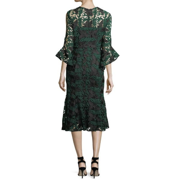 Shoshanna Green / Black Peregrine Bell Sleeve Dress
