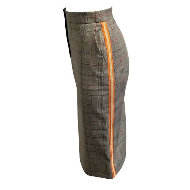 Calvin Klein 205W39NYC Grey Plaid Orange Trim Skirt
