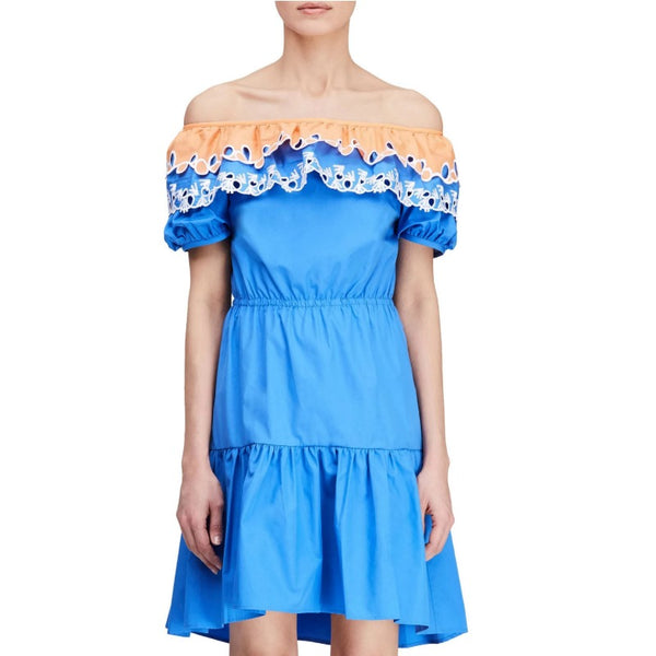 Peter Pilotto Blue / Orange Pallas Embroidered Cotton Off The Shoulder Dress