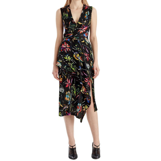 Jason Wu Black Floral Sleeveless Surplice Crinkle Silk Dress