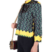 Marni Yellow Multi Print Polo Neck Blouse