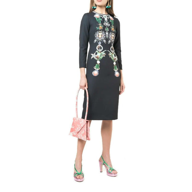 MARY KATRANTZOU Black Multi Naomi Jewel Dress
