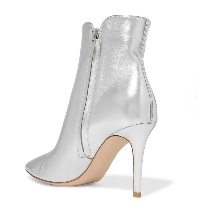 Gianvito Rossi Silk Silver Levy Boots