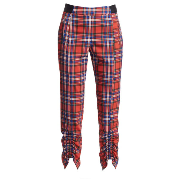 Tanya Taylor Red Carrington Plaid Pants