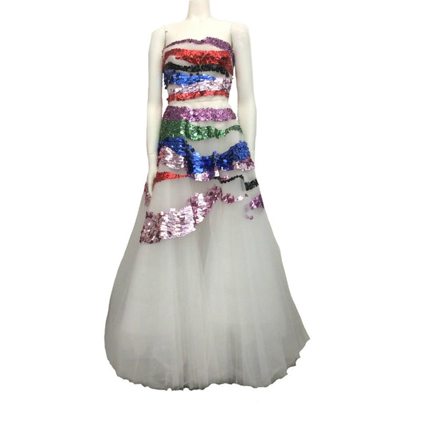 Oscar de la Renta White / Multi Tulle with Beading Gown