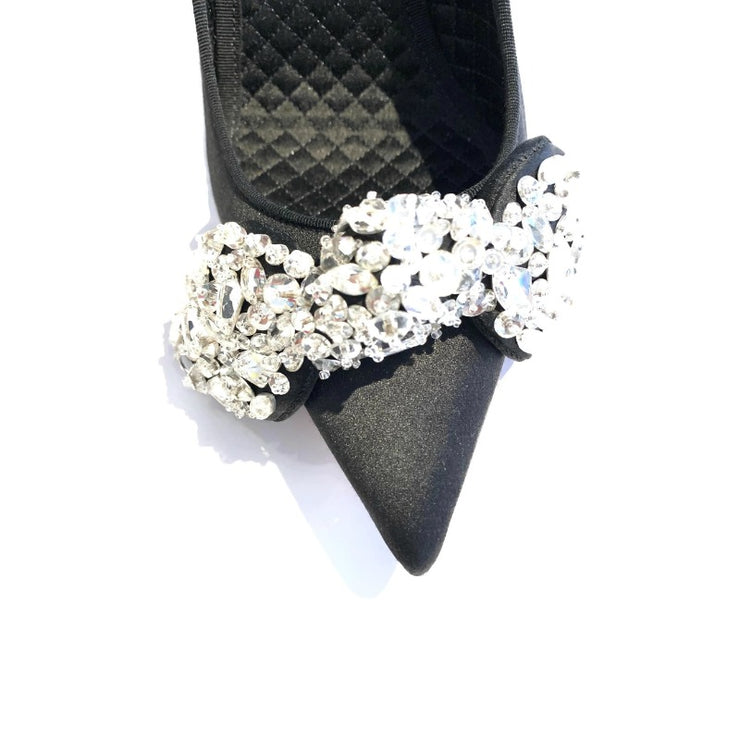 Alexander McQueen Black Satin Crystal Embellished Bow Pumps