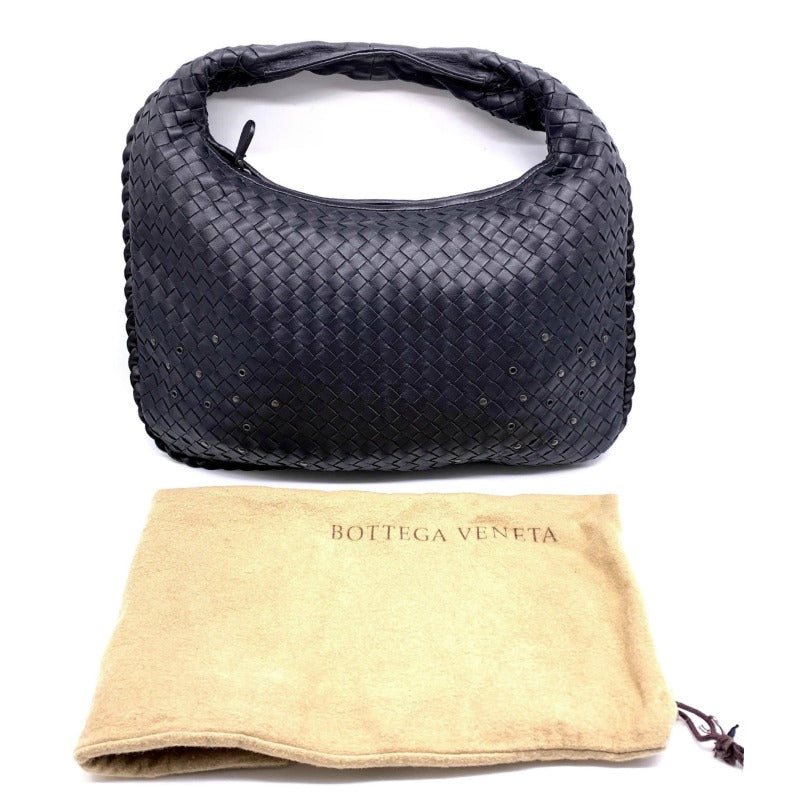 Bottega Veneta Intrecciato Black Leather Shoulder Bag