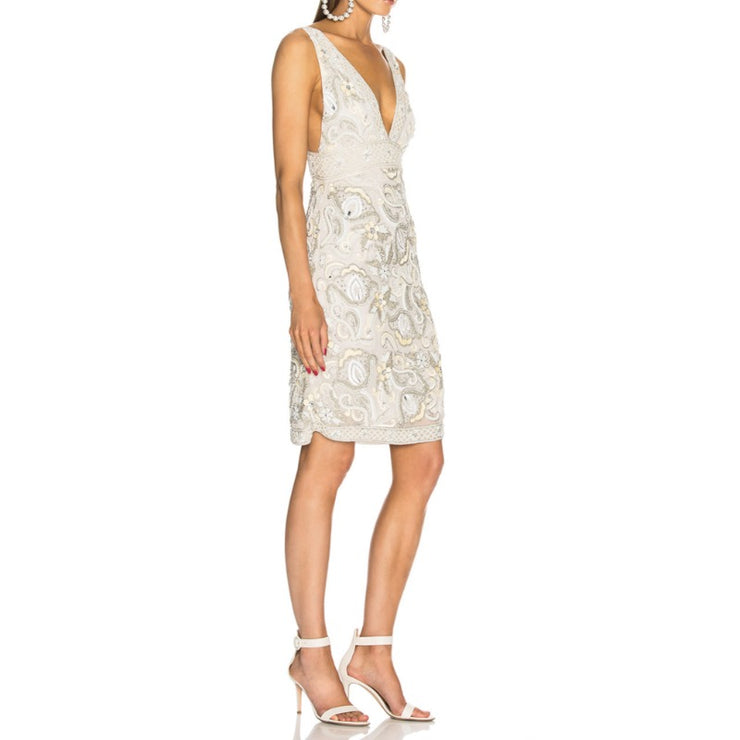 Retrofete Ivory Multi Anna Embellished Dress