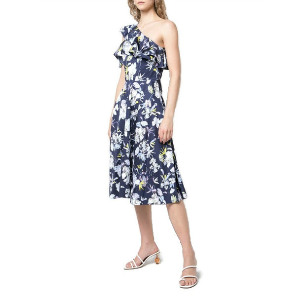 Jason Wu Navy Multi Floral Print One Sleeve Dress