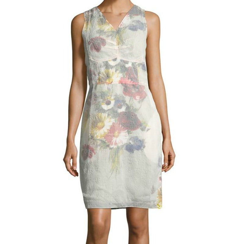 Céline Multicolor Faded Floral Sheath Dress