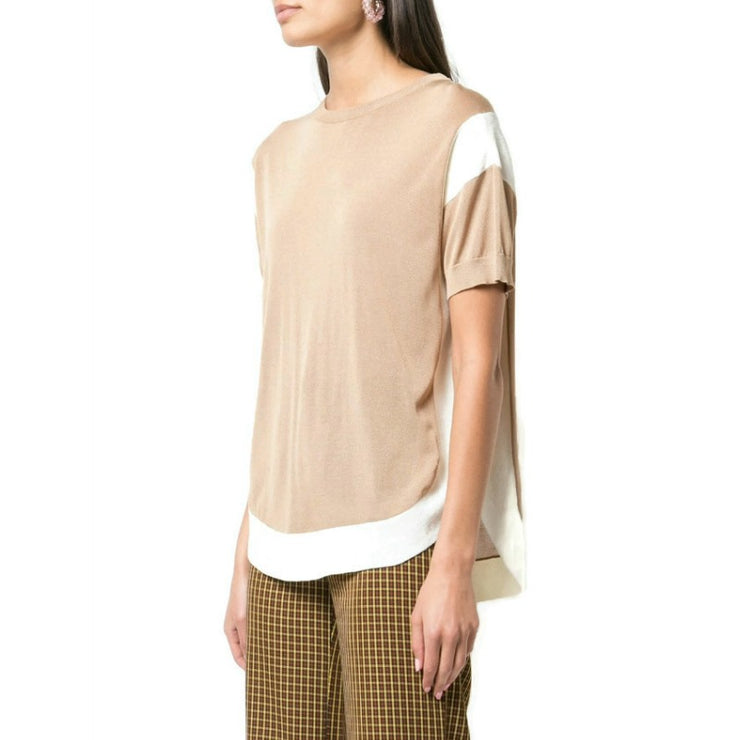 Tsumori Chisato Contrast Flared Brown and Ivory Sweater