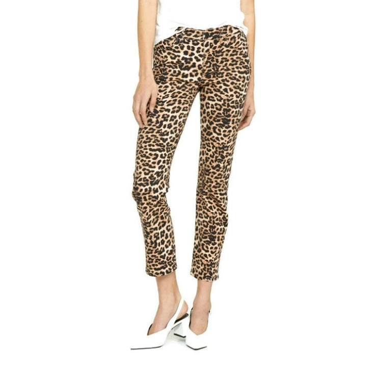 Hudson Leopard Nico Mid-Rise Straight Jeans