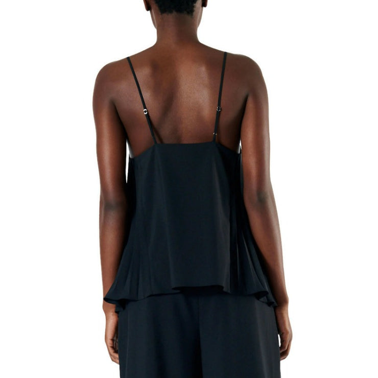 Tibi Black Edith Pleating Cami