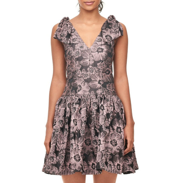 Rebecca Taylor Floral Jacquard Bow Dress