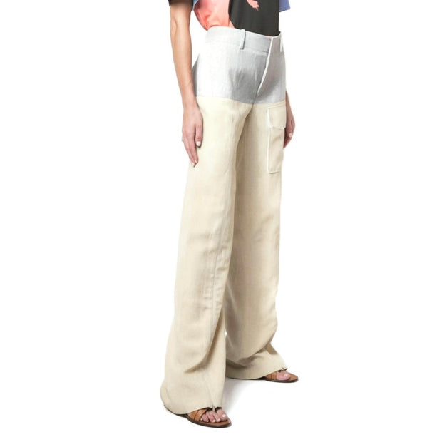 Chloé Beige / Grey Color Block Trousers