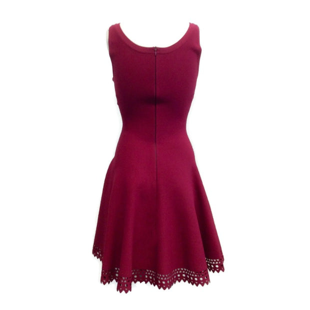 ALAÏA Raspberry Sleeveless with Cut Out Hem  Dress