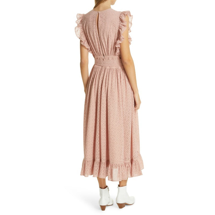 Robert Rodriguez Lotus Ruffle Eyelet Midi Dress