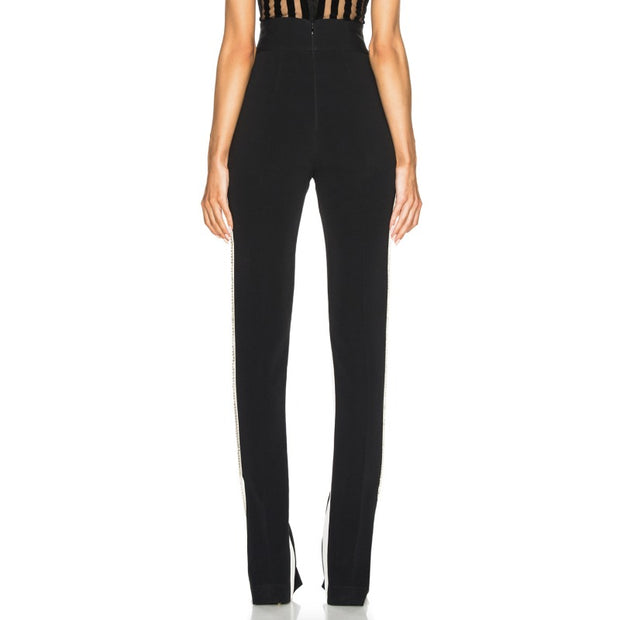 David Koma Black / White Crystals Embroidered Panel Pants