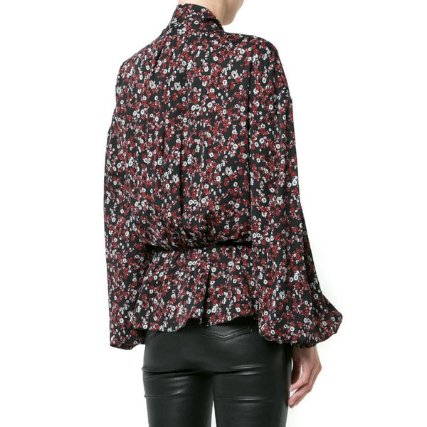 Magda Butrym Black Red Floral Bow Blouse