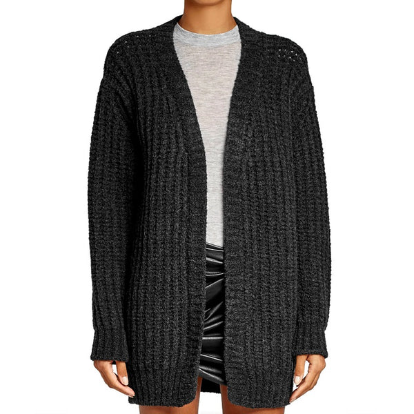 IRO Grey Ribbed Wool Cardigan Sweater