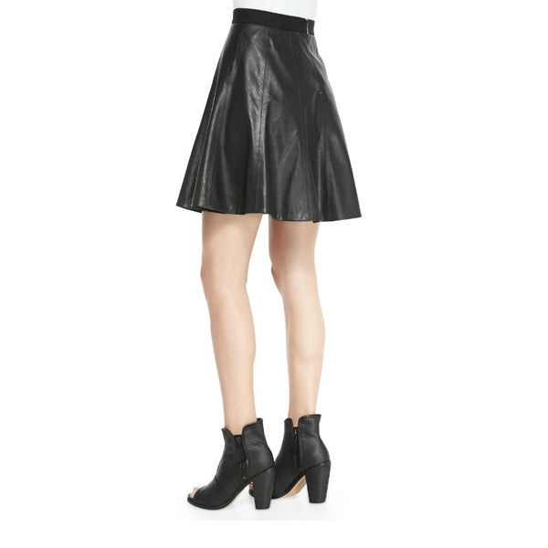 Rebecca Taylor Black Faux Leather Flounce Skirt