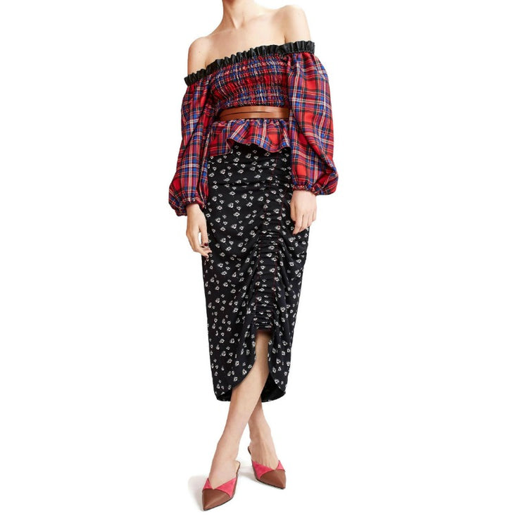 Tanya Taylor Red Multi Plaid Smocked Crop Blouse