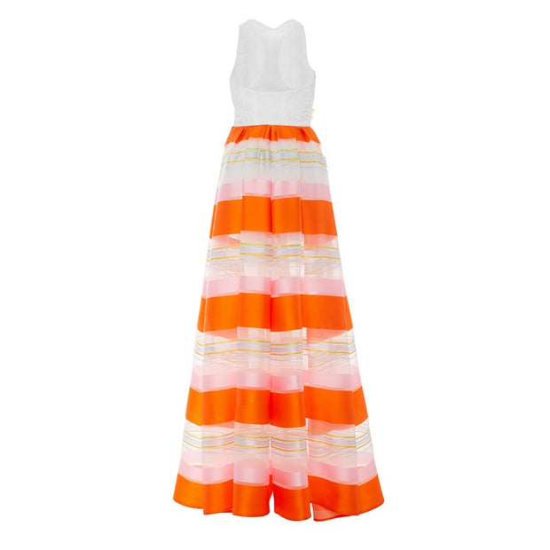 Delpozo Orange / White Striped Sleeveless Jumpsuit
