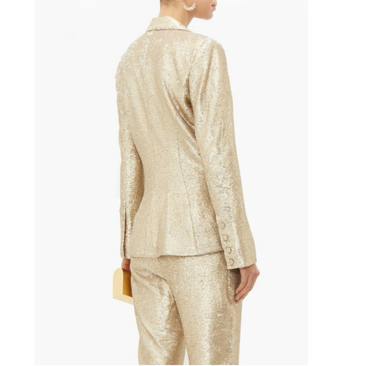 Jonathan Simkhai Gold Distressed Sequin Double Breasted Blazer