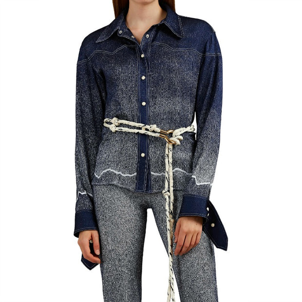 Chloé True Indigo Dégradé Denim-print Silk Blouse