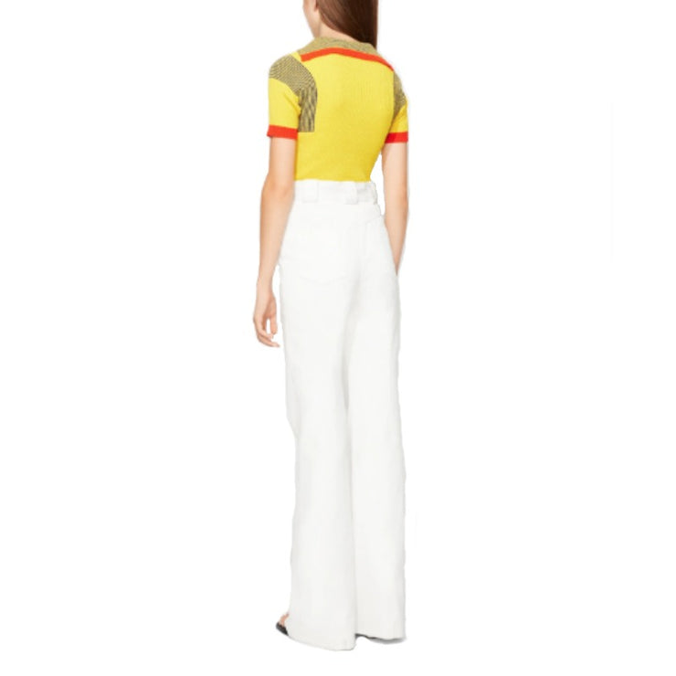 Proenza Schouler White High Waisted Twill Trouser/Wide Leg Jeans