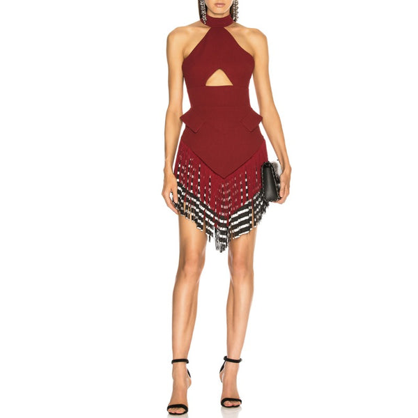David Koma Oxblood Halter Neck Cutout Fringe Dress