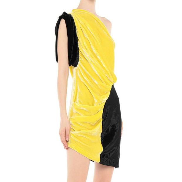 Attico Yellow / Black Velvet One Shoulder Dress