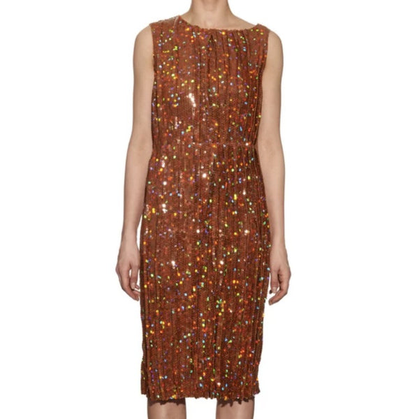 Nina Ricci Orange Pleated Sequin Embellished Cocktail Dress