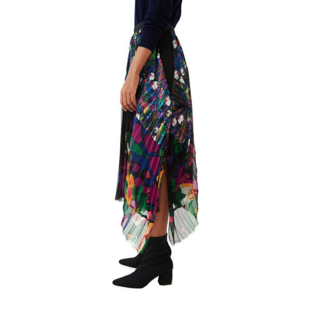 sacai Multicolor Draped Pleated Floral Skirt