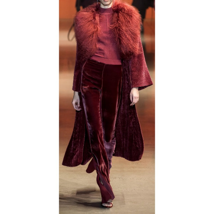 Cushnie Chenille and Tibet Lamb Red Sweater