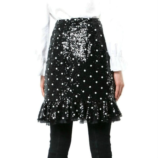 Giambattista Valli Black Polka-dot Sequin Skirt