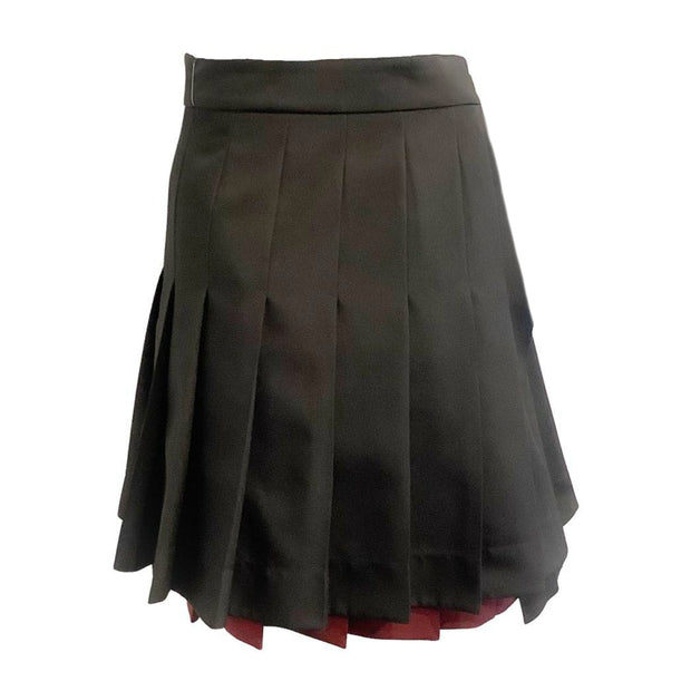 Calvin Klein 205W39NYC Black / Burgundy Skater Asymmetrical Pleated Skirt