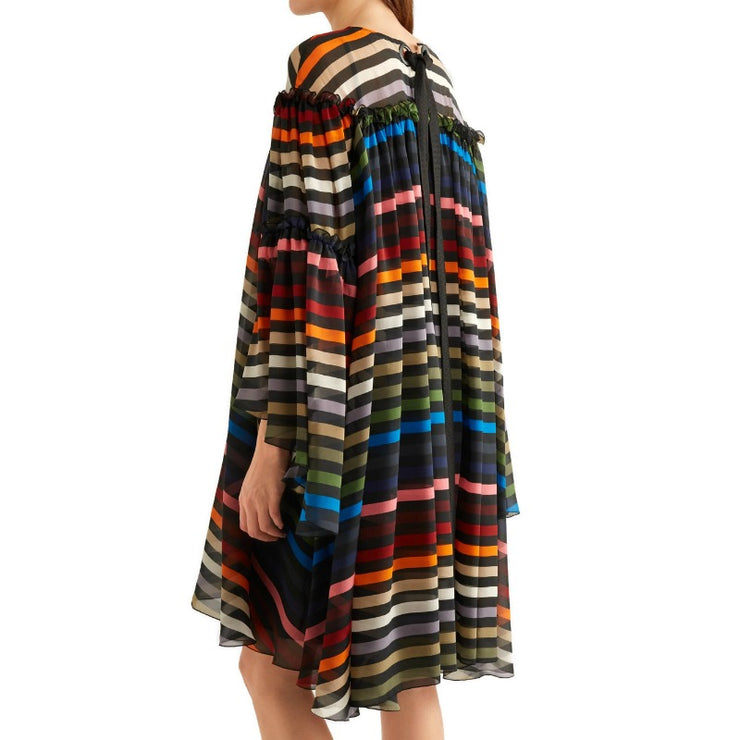 Sonia Rykiel Red Multi Striped Silk Chiffon Dress