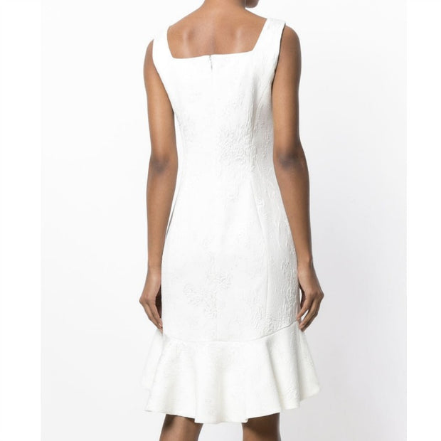 Emanuel Ungaro Ivory Jacquard Flounced Dress