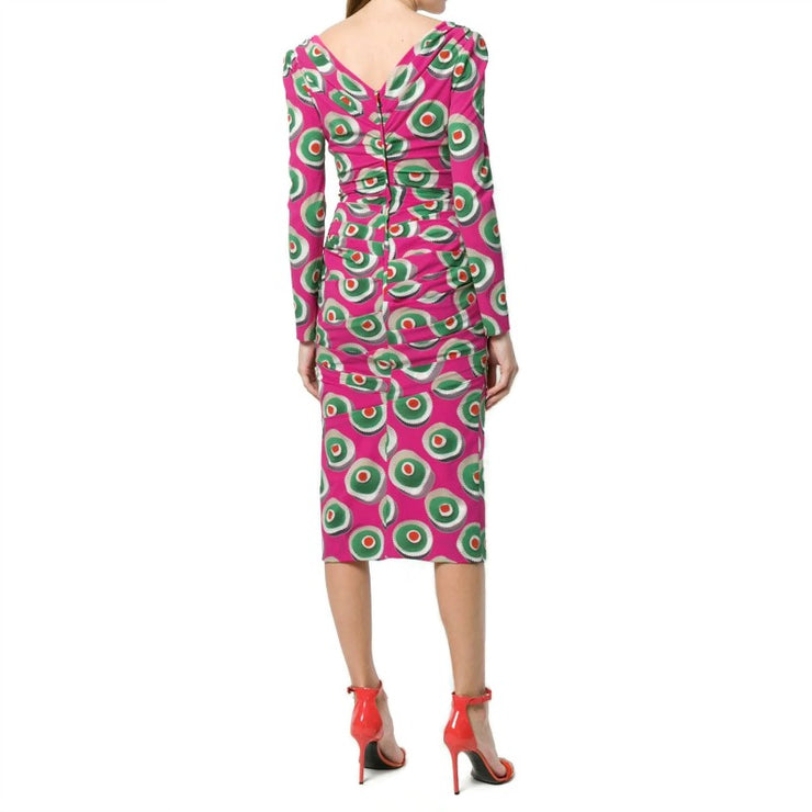 Dolce&Gabbana Dark Pink Print Cassata Dress