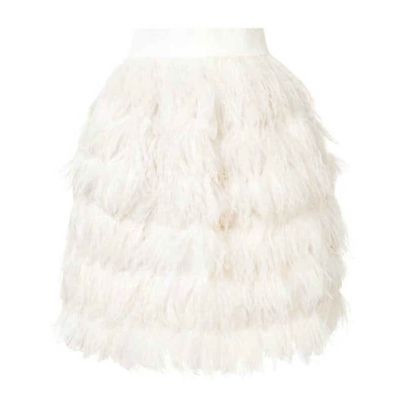 Dolce&Gabbana White Short Feather Skirt
