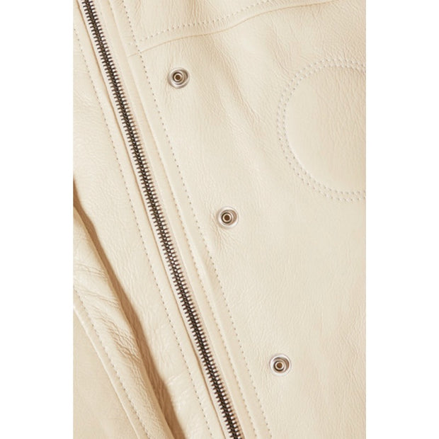 Chloé Papyrus White Belted Leather Coat