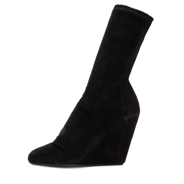 Rick Owens Black Suede Stretch Wedge Open Toe Boots