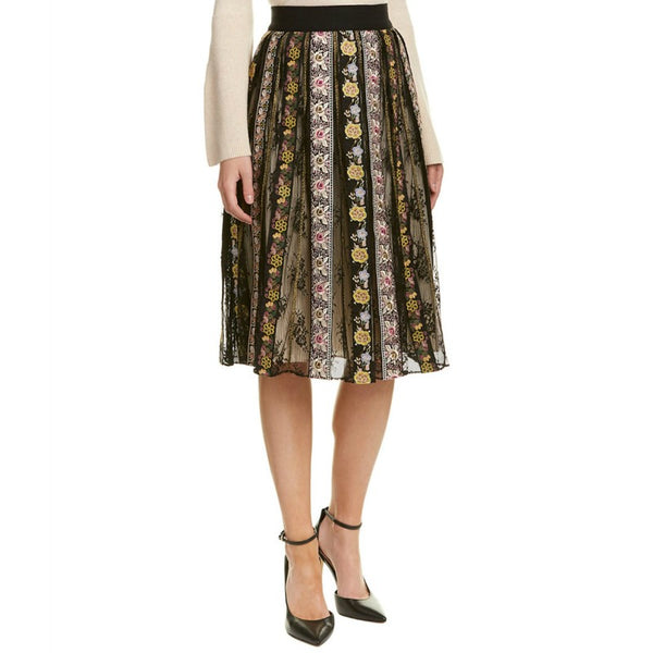 Alice + Olivia Black Multi Birdie A-line Skirt
