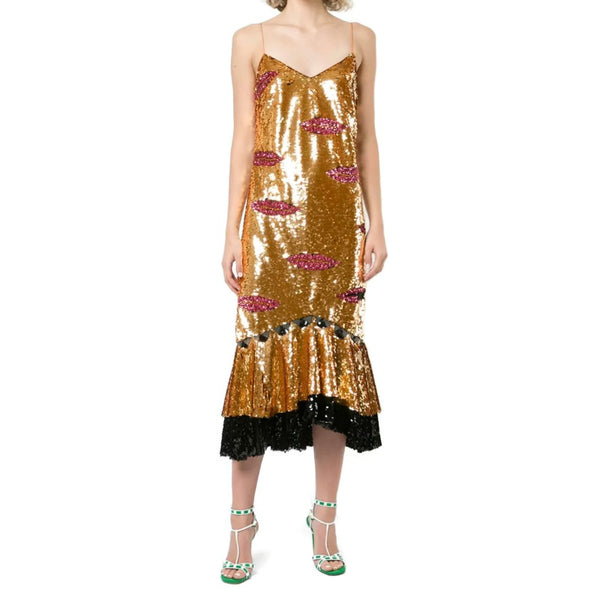 Sachin + Babi Gold Sequin Reina Dress