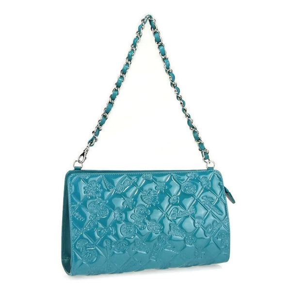 Chanel Embossed Charms Pochette Turquoise Patent Leather Shoulder Bag