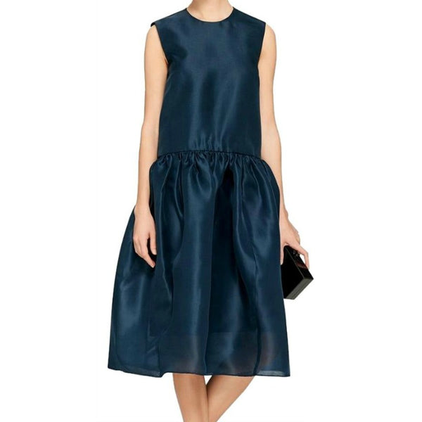 ELLERY Teal Meridian Drop Waist Formal Dress