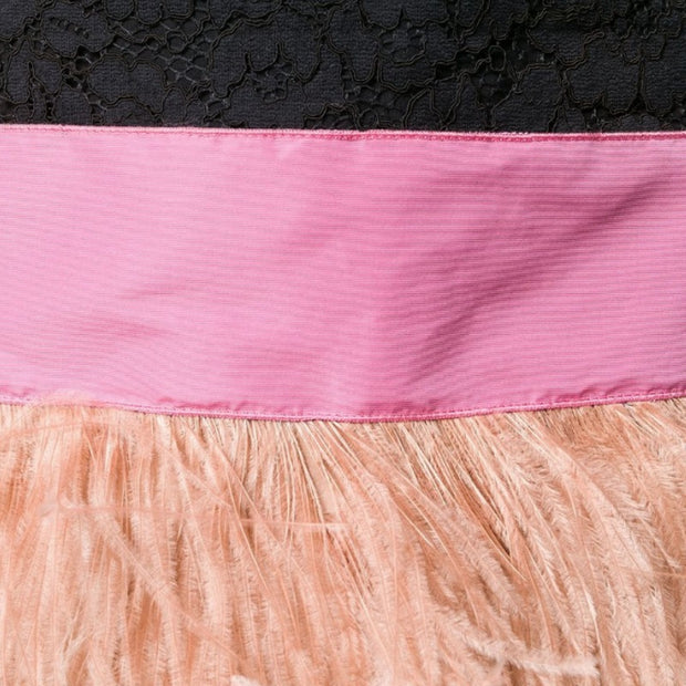 N°21 Black and Pink Striped with Feathers Skirt