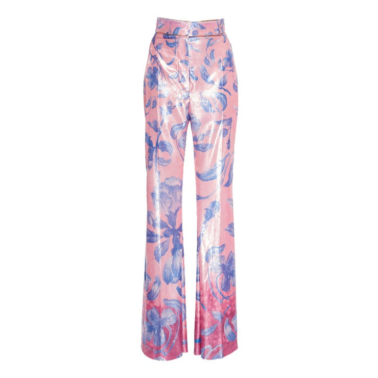 Peter Pilotto Gradient Flower Blue High-rise Velvet Trousers