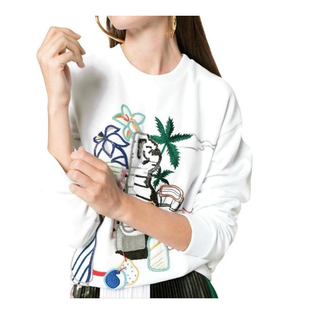 MARY KATRANTZOU Saker Pop Art White Sweater